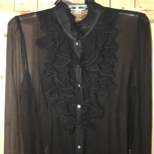 Harold's 100% Silk Black Blouse Large